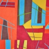 Contemporary abstract art quilt, hand dyed fabrics, improvisational, textiles, machine quilting