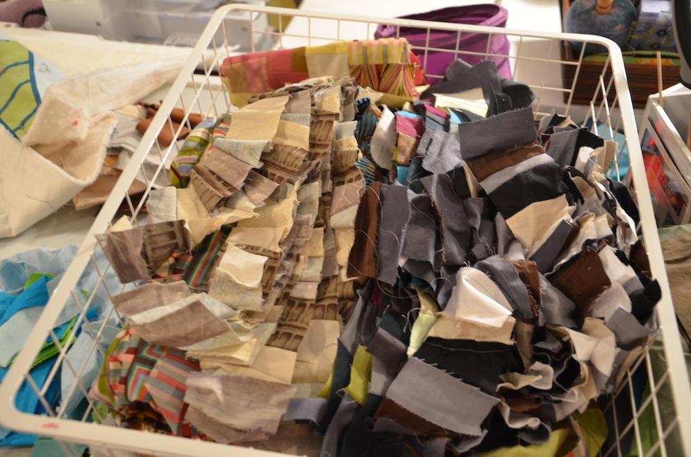 Improvisational quilt scraps